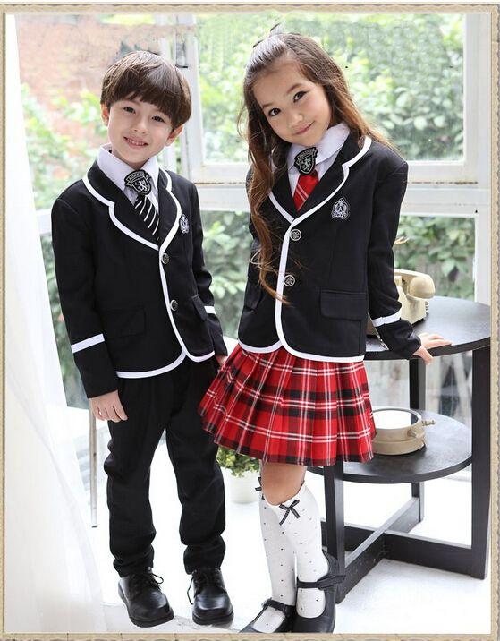 5bef9ccfa2 Retail British korean japanese school uniform kids clothes uniforme escolar children  girls and boys clothing jacket skirt 5 sets