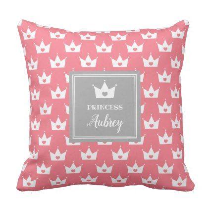 pink princess crown pattern calligraphy name throw pillow
