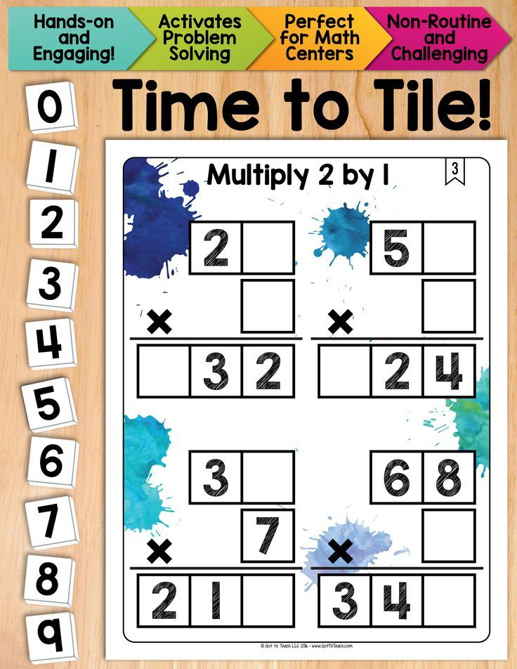 Math Tiles: Multiply 2 by 1 Math Centers | Multiplication, Math and ...