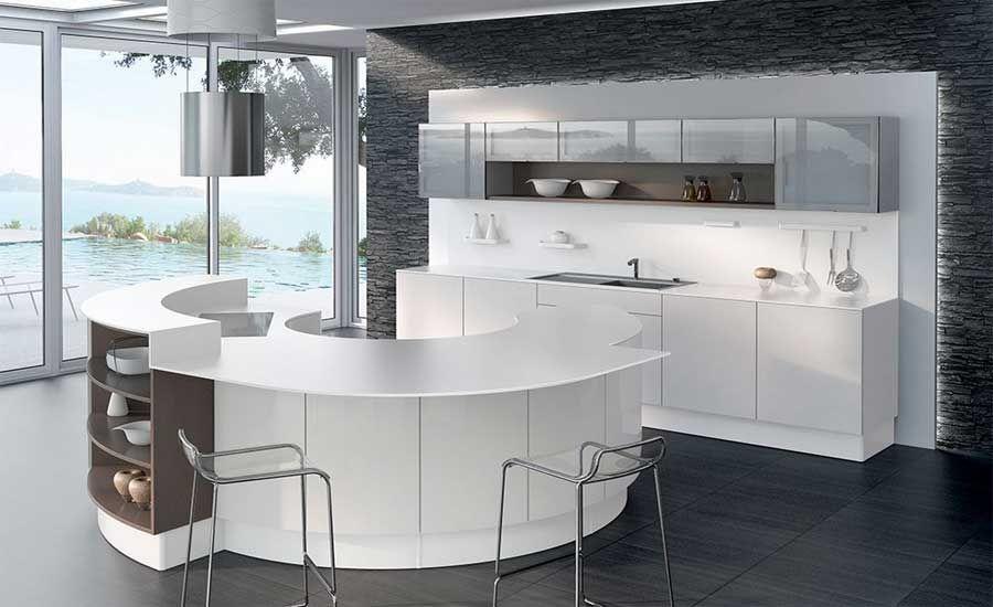 Küchen, Kücheninsel rund mit Theke in weiß inklusive chrom barstühle ...