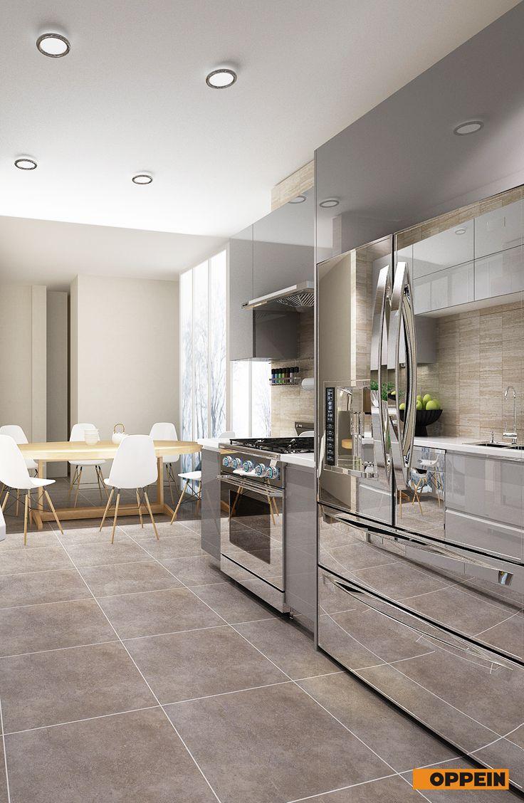 Modern Light Grey High Gloss Acrylic Kitchen Cabinet Kitchen Design Elegant Kitchens Back Painted Glass