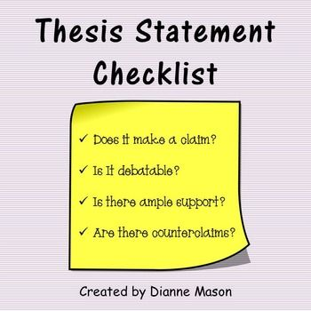Free. This Handy Checklist Gives Students A Useful Tool For Determining  Whether Or Not The… | Thesis Statement, Thesis Statement Worksheet,  Creative Writing Classes