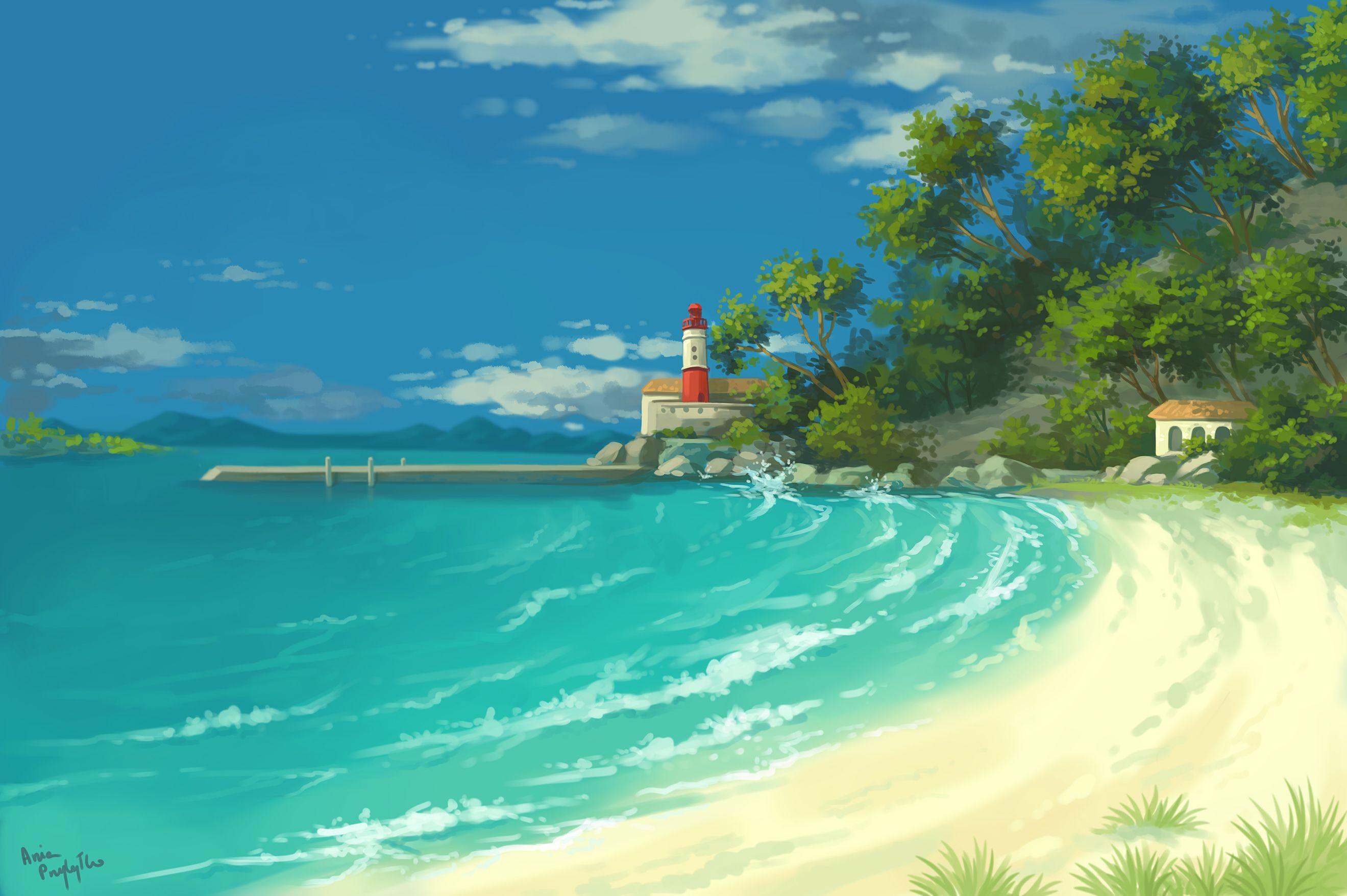 Coast Sea Background Landscape Scenery Ocean Lighthouse Digital Photoshop Illustration 2d Painting
