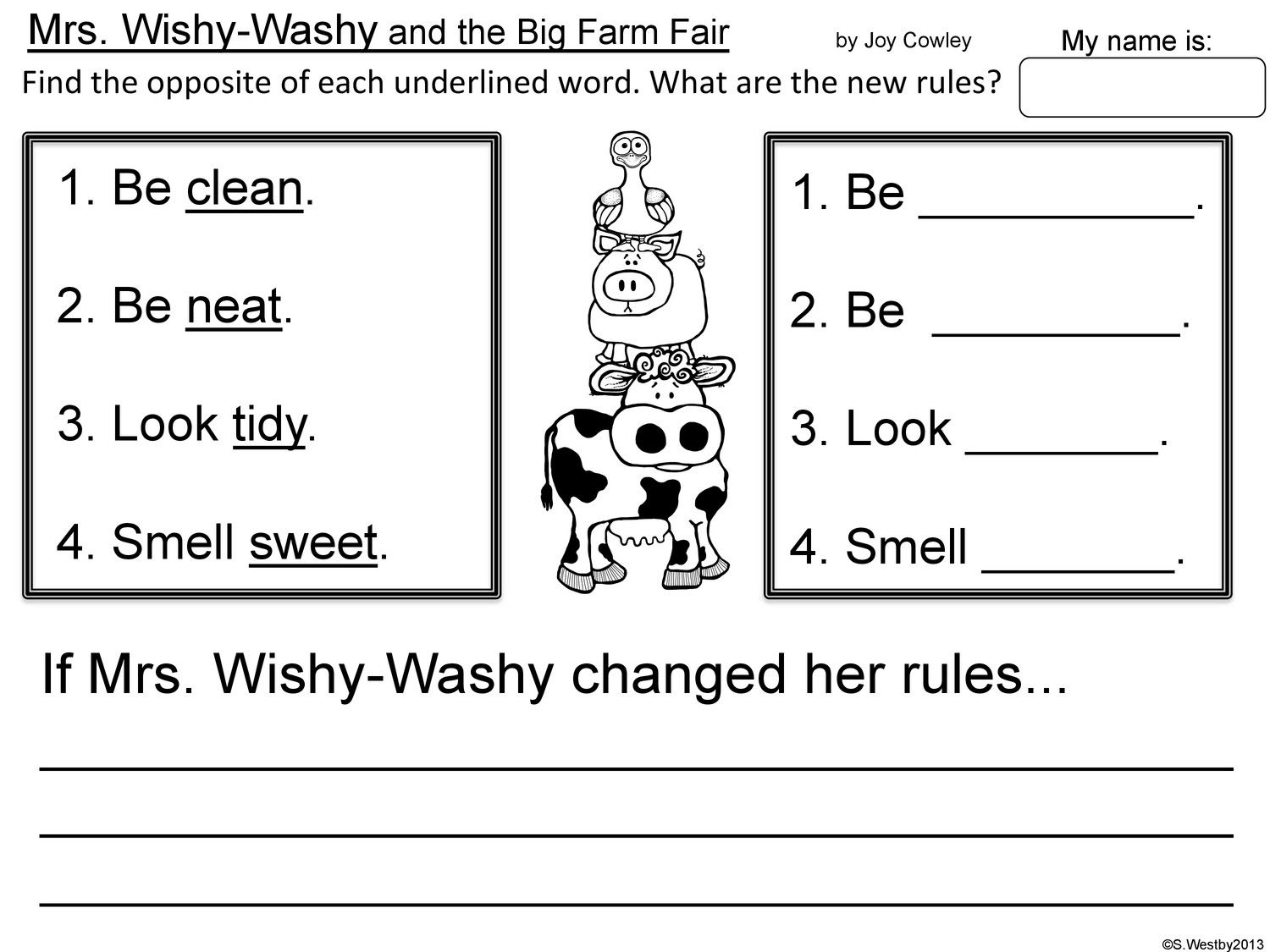 Mrs Wishy Washy And The Big Farm Fair Worksheet