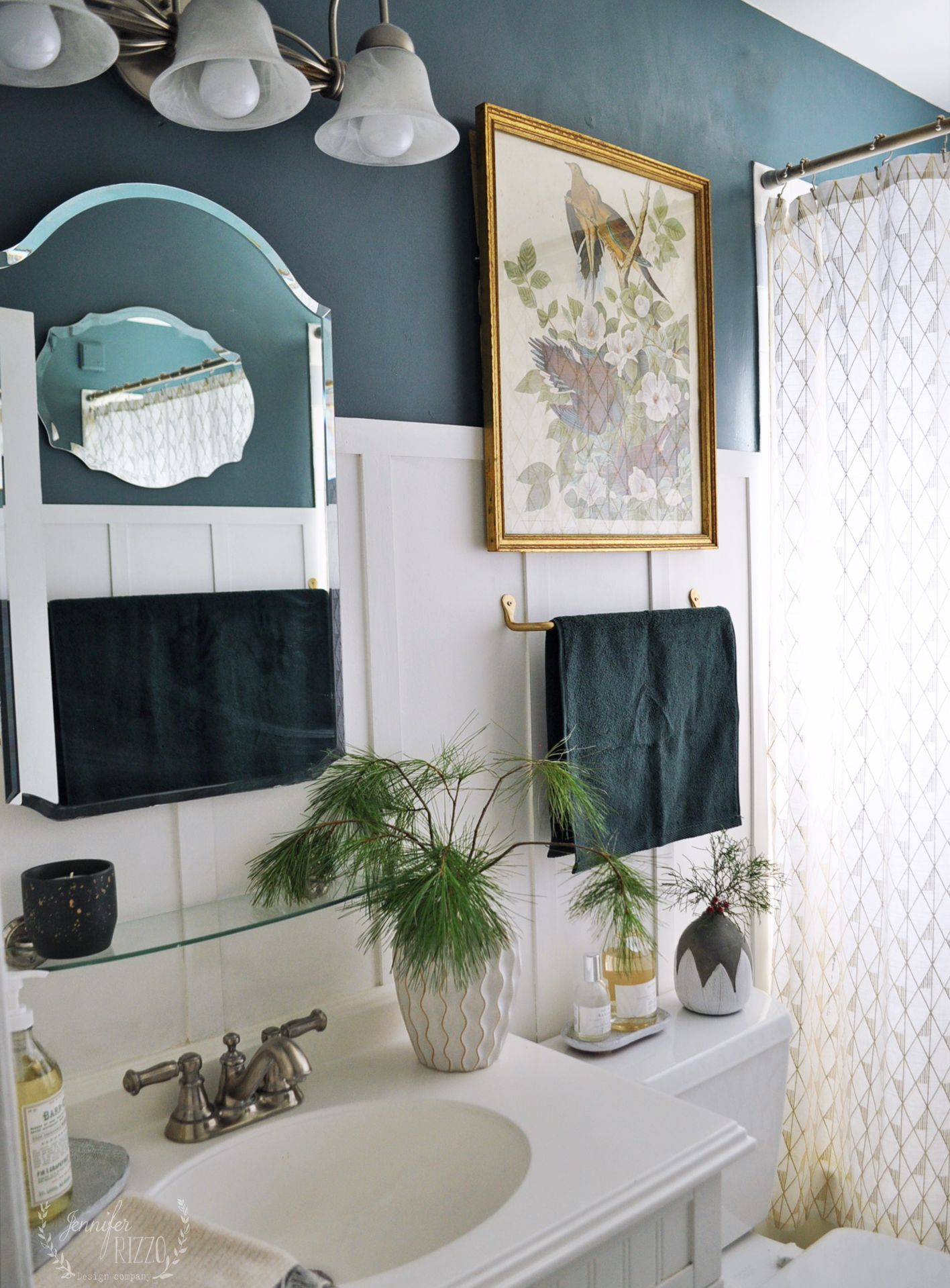 Bathroom Makeover With Dark Green Blue Walls Blue Bathroom