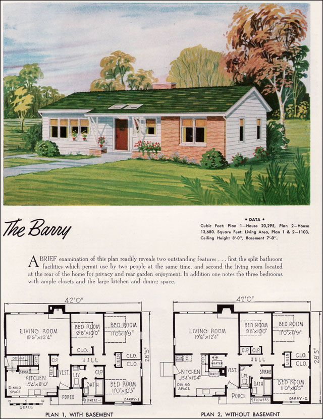 1952 national plan service barry mid century modern for Small ranch house plans