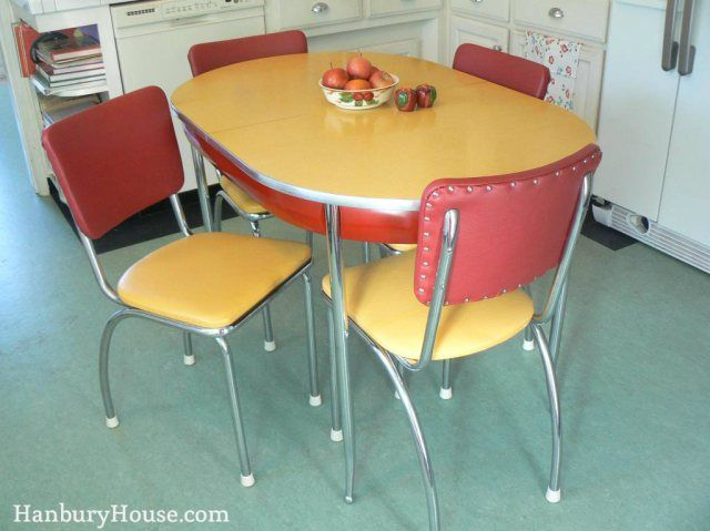 1940s red and yellow formica table and chairs dinette set by