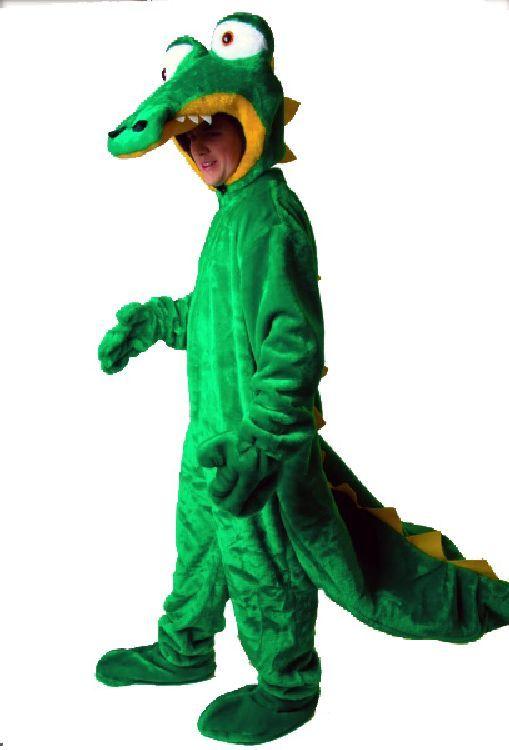 Karneval-Erwachsenen-Kostuem-Krokodil-Drache-Fasching-Overall-Pluesch-Universalgr
