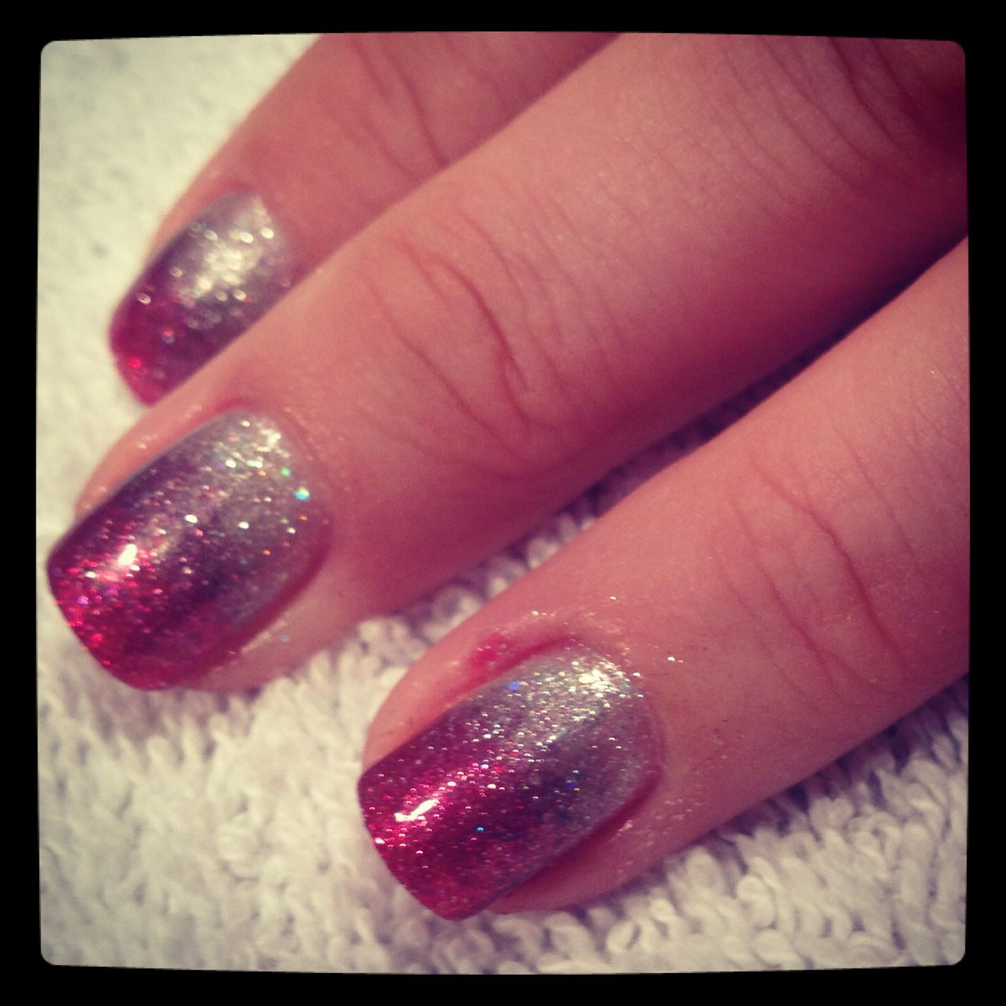 Red and silver ombr  Gelish nails by Chelsie  Silver
