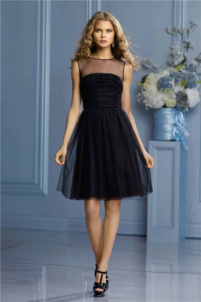 A Line Sheer Illusion Neckline Short Black Tulle Party Bridesmaid