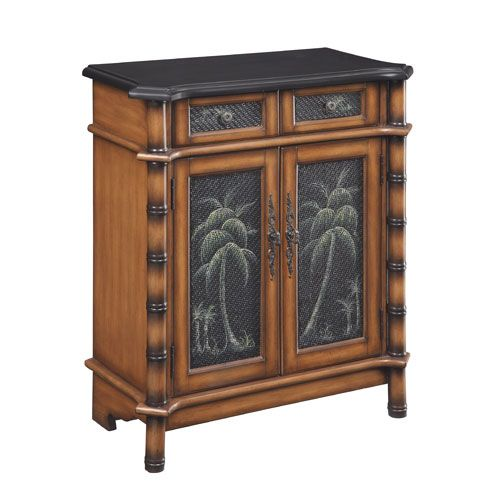 Coast To Accents Palm Tree Two Drawer Door Cabinet Imports Cabine