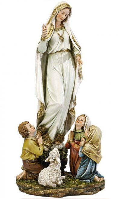This Statue Of Our Lady Appearing The Fatima Children Is The Perfect Addition To Your Home For The 100th Anniversary Of Fatima Lady Of Fatima Fatima Statue