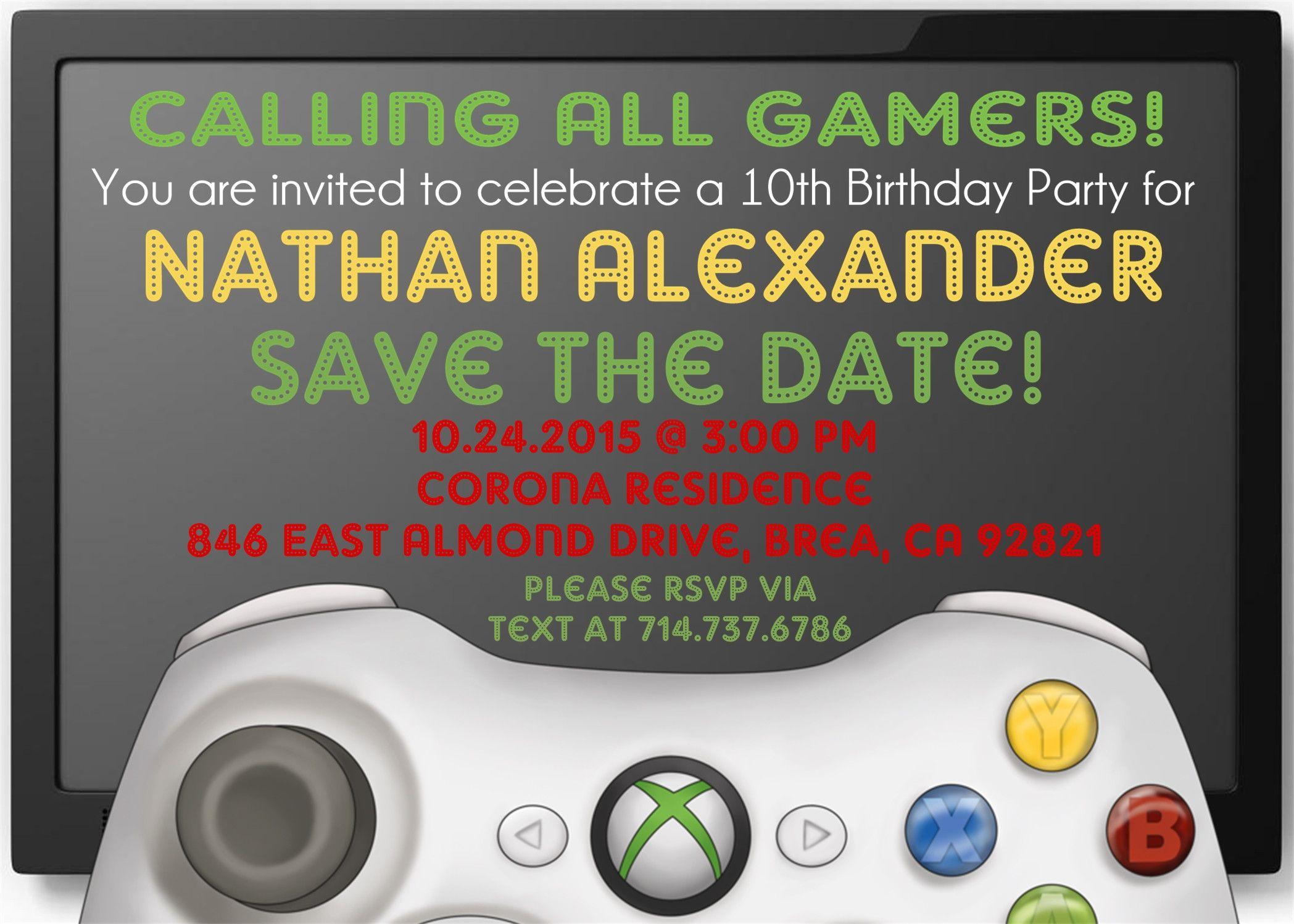 XBOX Birthday Party Invitations in 2018 | XBOX Video Game Birthday ...