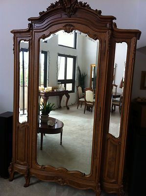 Superieur Antique Armoire French Country Louis XV Solid Walnut W Beveled Mirrors |  EBay