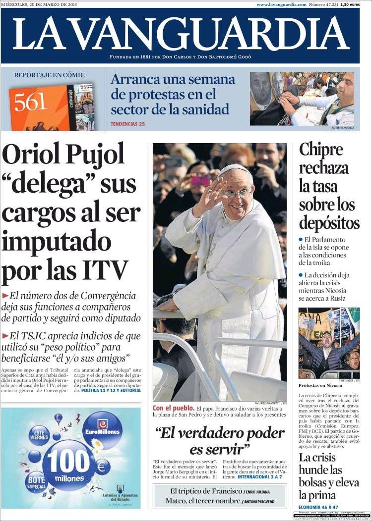Los Titulares y Portadas de Noticias Destacadas Españolas del 20 de Marzo de 2013 del Diario La Vanguardia ¿Que le parecio esta Portada de este Diario Español?