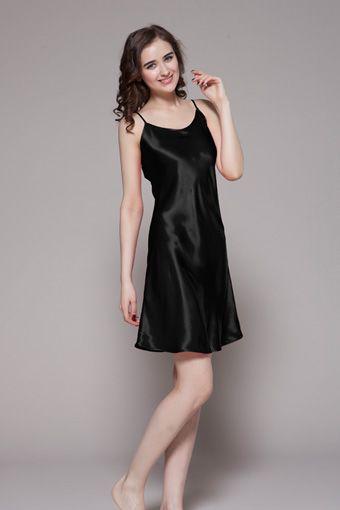 Black silk night dress