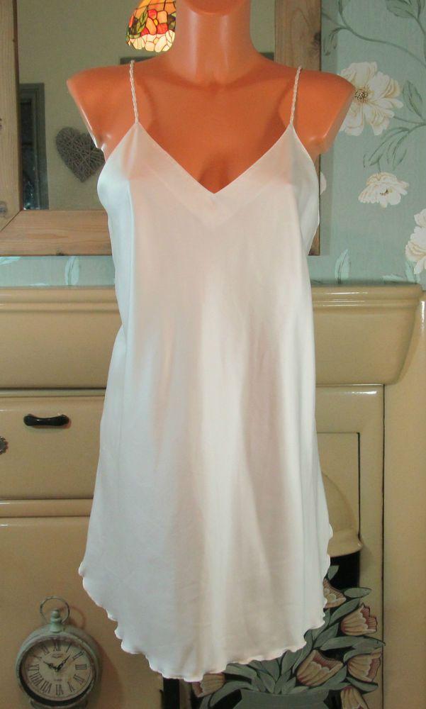 Vintage BHS pearl soft sliPpy full slip nightie dress gown 34-36 ...