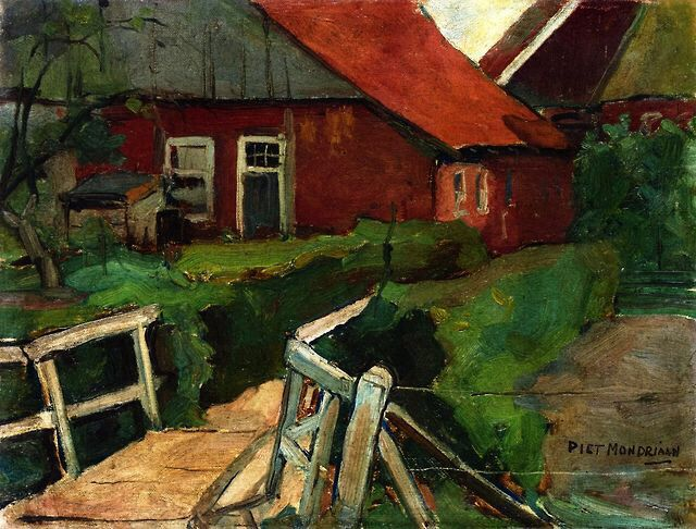 Piet Mondrian (1872–1944) - Earlier Work Farm Building with Bridge (c. 1909)