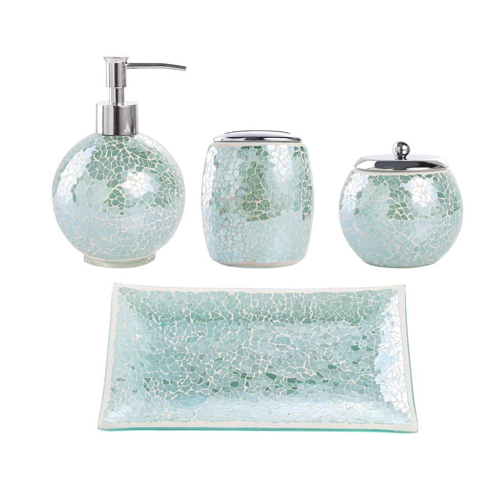Bathroom Accessories Set 4 Piece Glass Mosaic Bath Accessory Completes With Lotion Dispenser Soap Pump Cotton Jar Vanity Tray Toothbrush Holder Turquoise In 2020 Bathroom Accessories Sets Glass Bathroom Bathroom Accessories