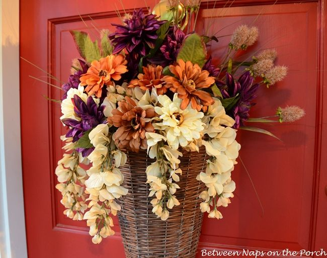 Greet Your Guests With An Autumn Basket Autumn Fall Front Doors