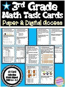 3rd Grade TX STAAR Math | 40 Card Collection | Task Cards ...