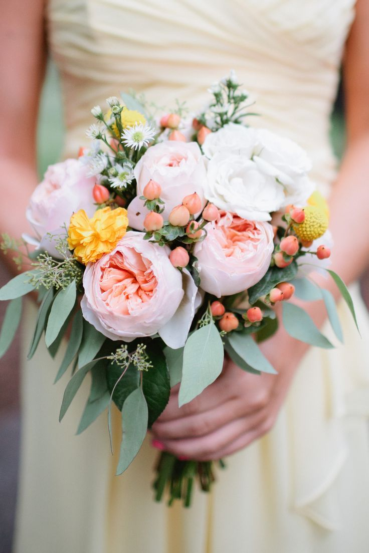 Pastel Peach Garden Roses, Coral Berries, Yellow Billy Balls, Asters And  Lush Greenery