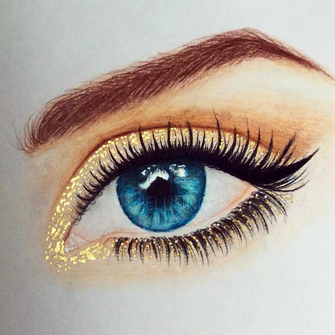 Gold shimmer eye | Artistic Flair in 2019 | Makeup drawing ...