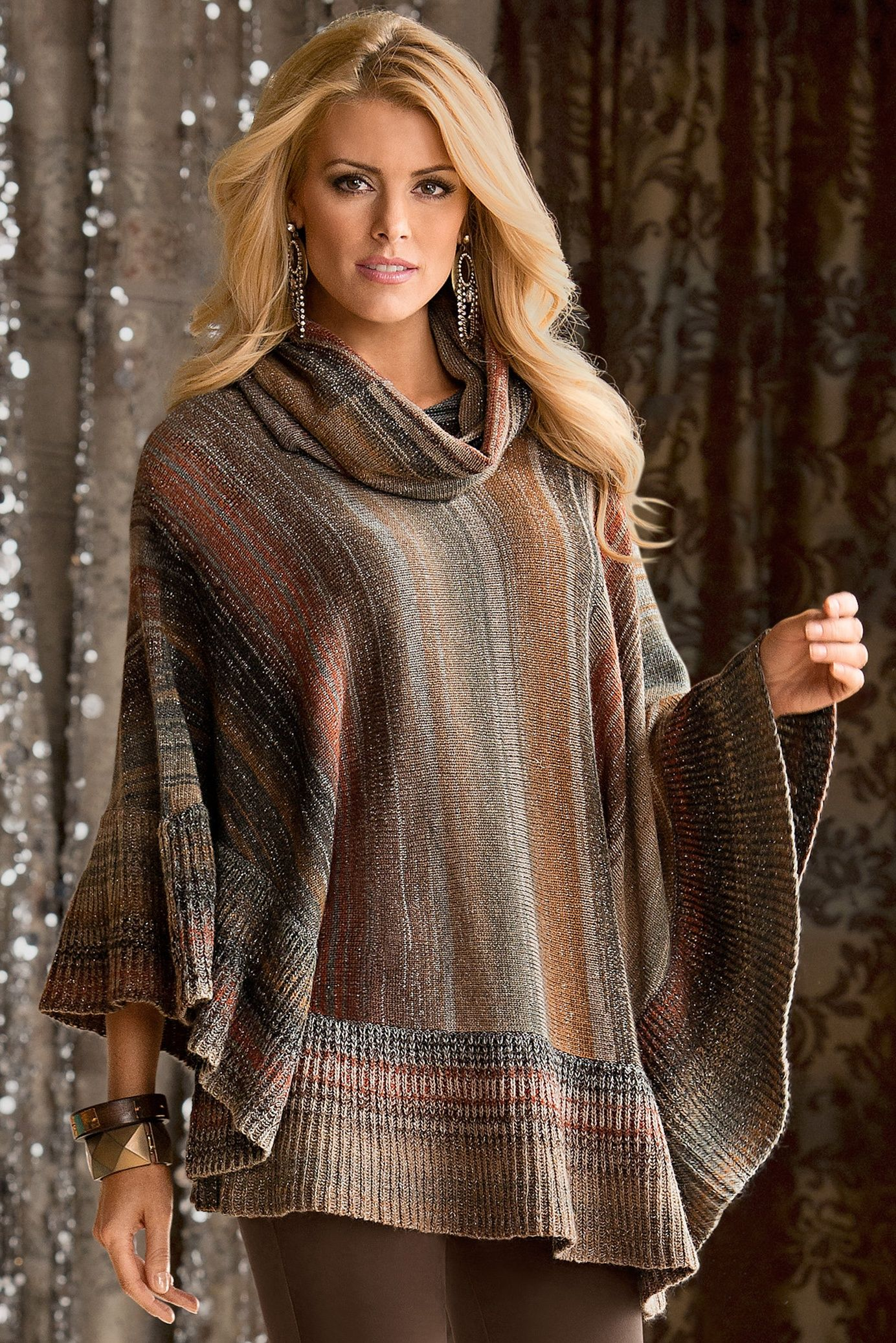 Boston Proper Lurex cowl-neck poncho #bostonproper | Style ...