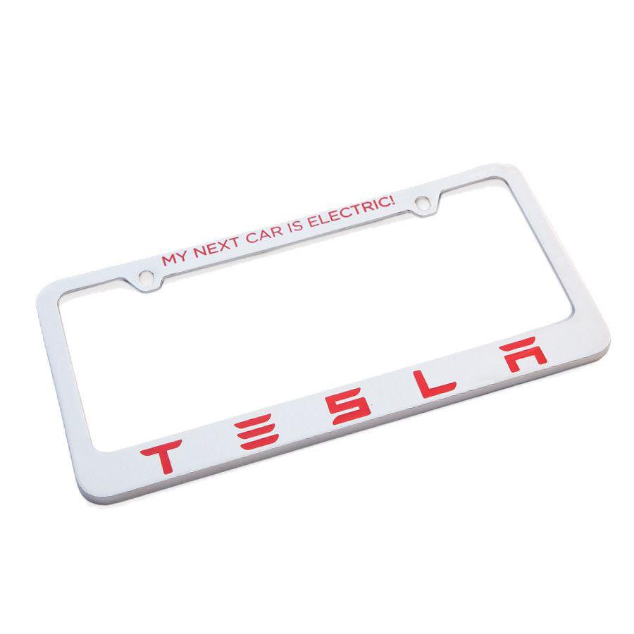 Shop Tesla Gear — Tesla License Plate Frame - \'My Next Car is ...