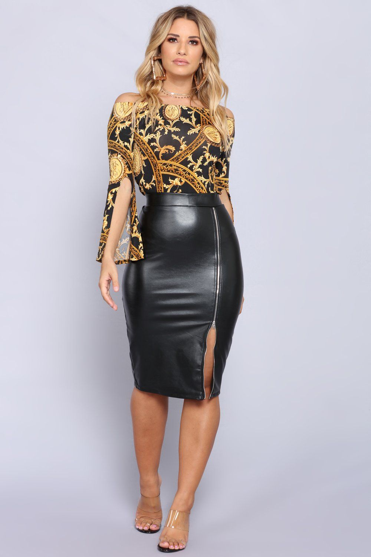de435c0b4f Golden Glam Treasure Top - Black Gold. Leather skirt Black Leather Pencil  ...