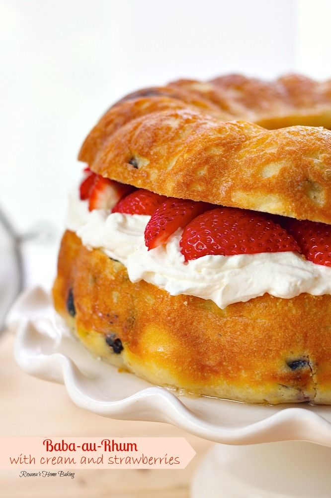 Baba au Rhum recipe with cream and strawberries