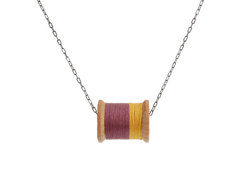 Mustard and Eggplant Thread Spool Necklace by beckysbuttons, $24.00