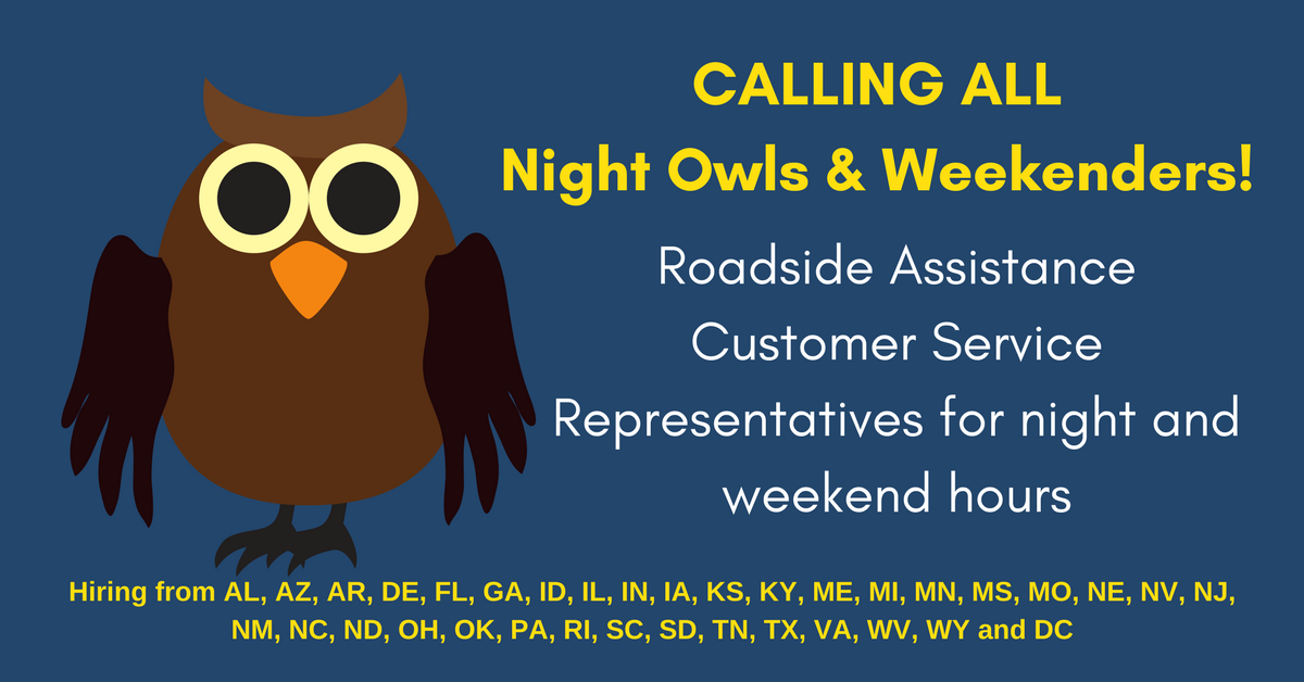 Customer Service Reps needed for night and weekend hours