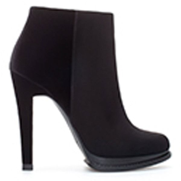 Zara High Heel Ankle Boot With Platform (62 BRL) ❤ liked on Polyvore featuring shoes, boots, ankle booties, ankle boots, black, high heel booties, black platform boots, black ankle booties, short black boots and black booties