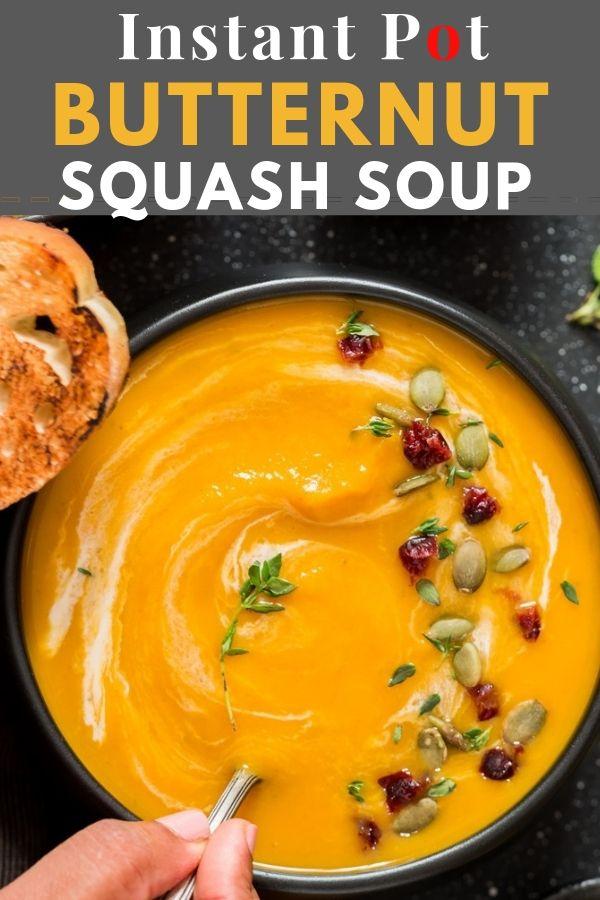 Instant Pot Butternut Squash Soup #butternutsquashsoup