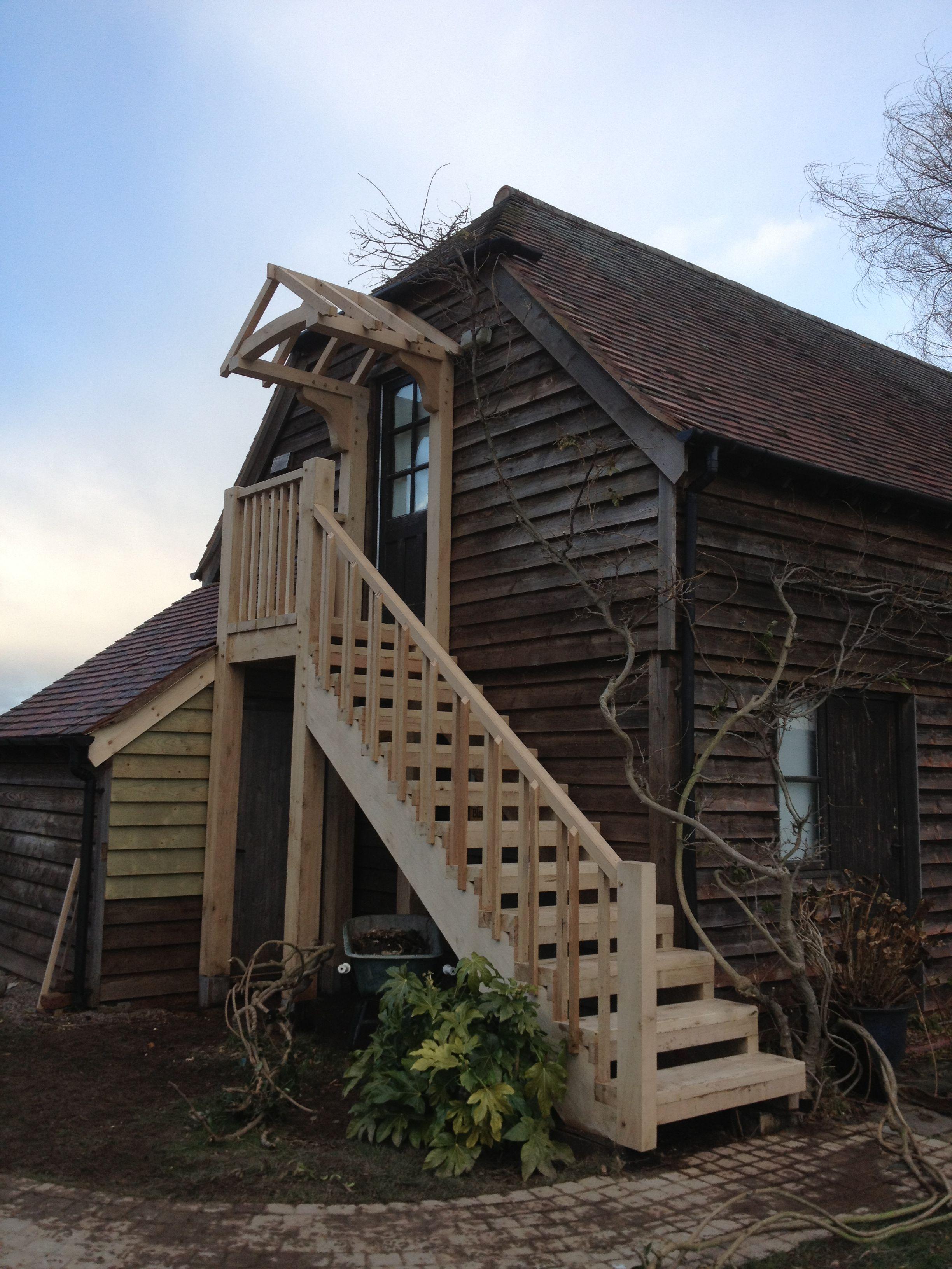 Outside Oak stairwell addition to old oak frame barn www ...