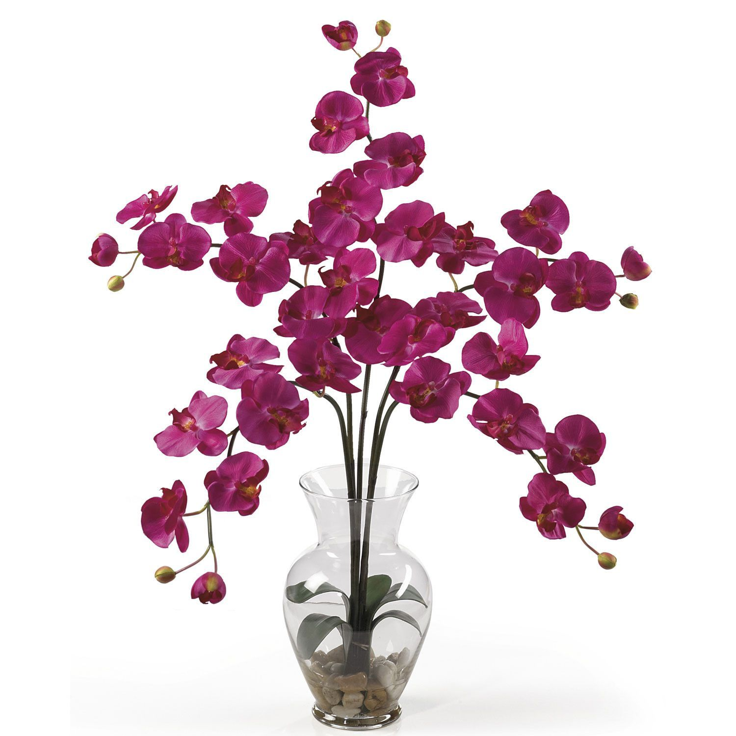 """Phalaenopsis Liquid Illusion Silk Flower Arrangement - Check out this stunning phalaenopsis orchid! Bursting with color and personality the Phalaenopsis is perhaps the most popular variety of all the orchids. Expertly arranged, this piece was designed to enhance any space. It comes in 8 outstanding colors: Beauty, cream, dark pink, green, gold, mauve, orchid, and white. Standing 31"""" tall, each plant comes stacked with five amazing phalaenopsis stems each with 6 flowers and 2 buds. Finished…"""