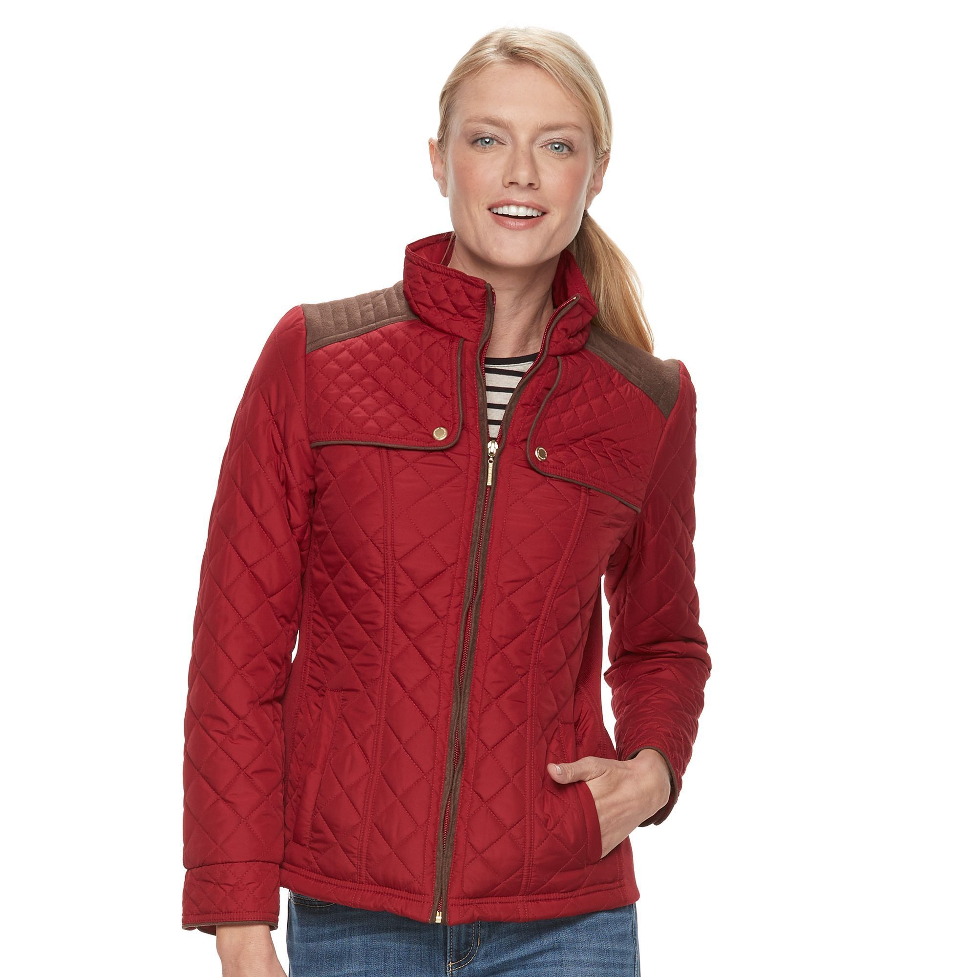 Women's Weathercast Quilted Side-Stretch Jacket, Size: Medium, ...