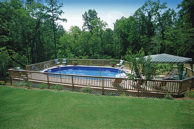 Enclosed Area With Pool Wood Deck With Entertainment Area In Ground Pools Backyard Pool Pool Landscaping