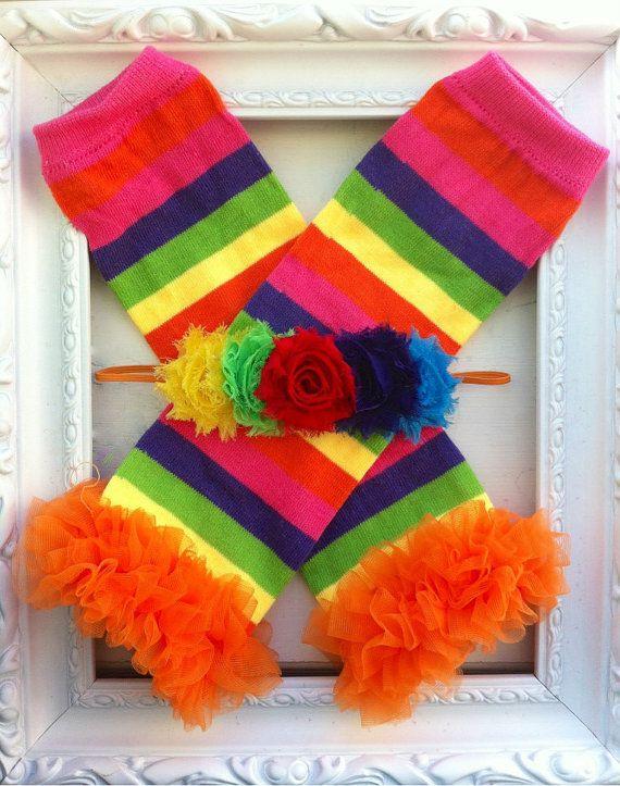 Leg Warmers Rainbow Baby Headband Birthday by ...