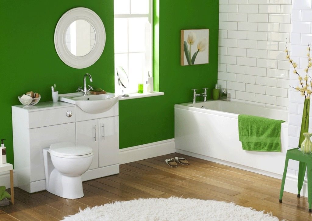 Bathroom Bright Color Decorating Ideas Small Space Bathroom Stained Green Wall White Bathtub White Green Bathroom Small Bathroom Colors Modern Bathroom Colours