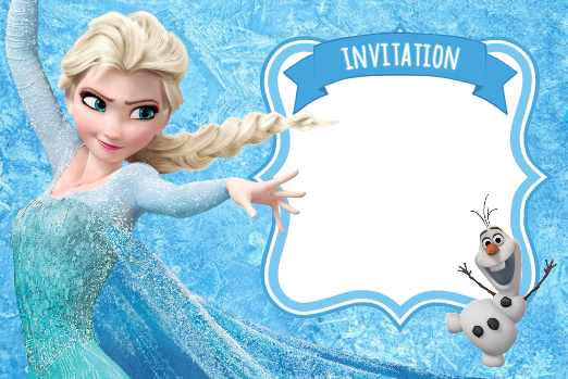 invitation reine des neiges elsa frozen bleue