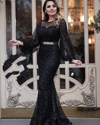 abendkleider lang glitzer  schwarz abendmoden mit Ärmelabendkleiderkleider für besondere