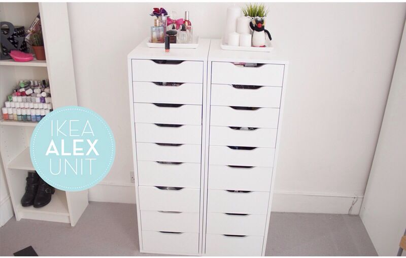 Awesome Makeup Drawer With Llymlrs Makeup Collection Storage Ikea Alex 9  Drawer Unit