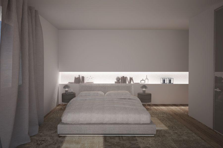studio della camera da letto: luci soffusi e colori tenui ...