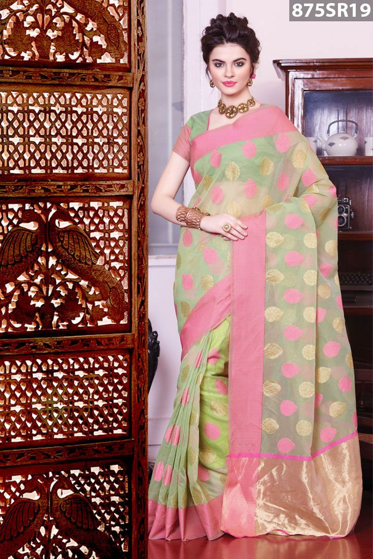 Green cotton saree intricate with zari, resham embroidery woven. Available with green cotton blouse .Price US$ 50