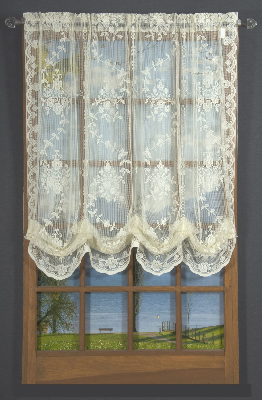 m va products rochelle lace natural waterfall zoom new valance fv
