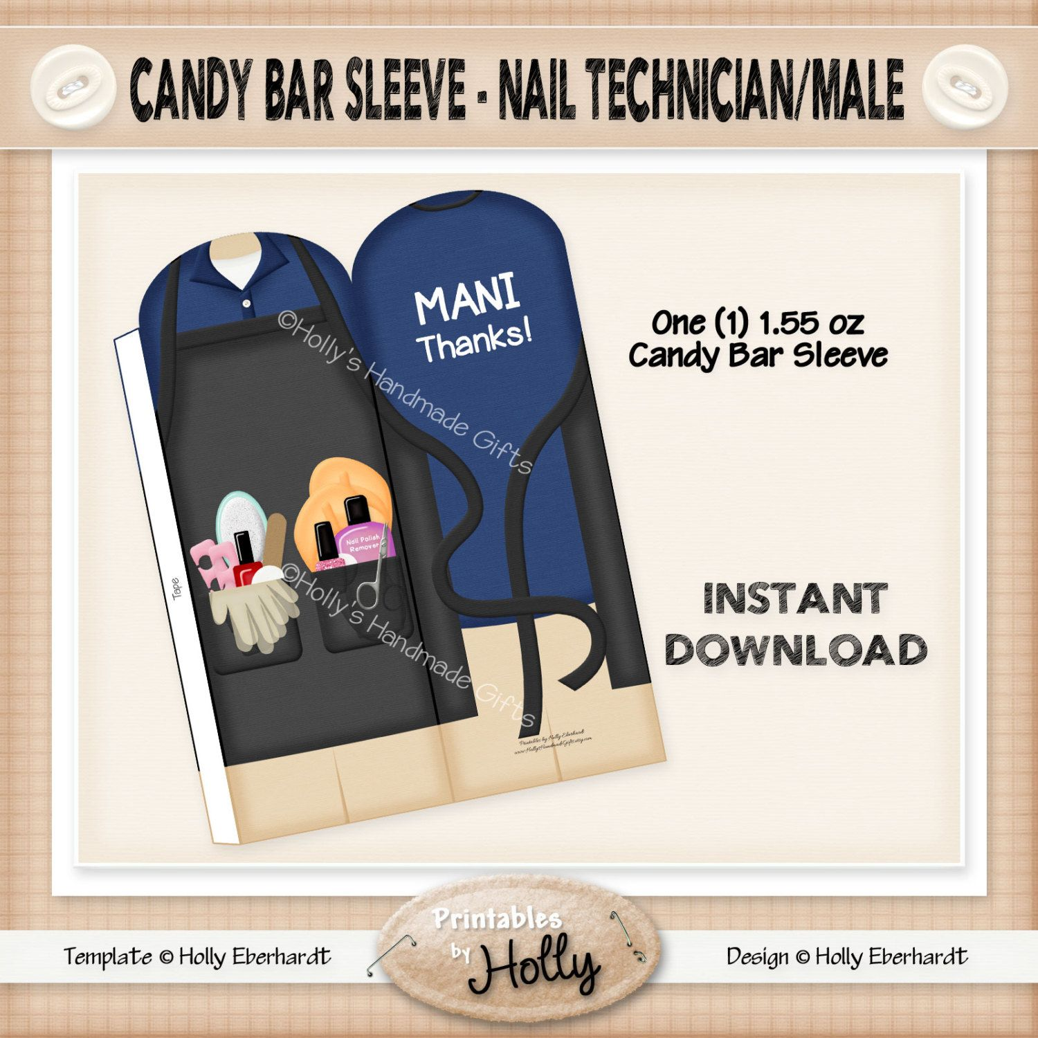Candy Bar Sleeve - Nail Technician - Male - Instant Download ...