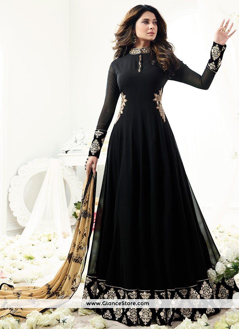 03ab89e1190 Jennifer Winget Black Faux Georgette Floor Length Anarkali Suit ...