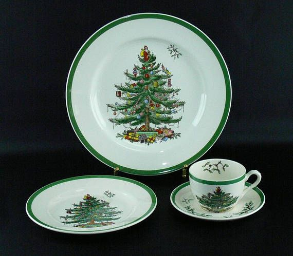 Spode Christmas Tree 4 pc Place Setting Dinner Salad Plate Cup